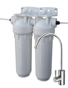 Dvojni vodni filter HF-U Pb Ster-O-Tap 0,02 mcr, podpultni, komplet s pipo
