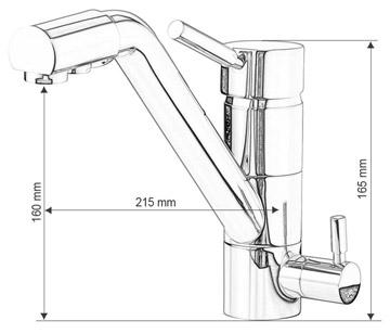 Dimenzije kuhinjske armature - pipe 3v1 - JAPURA